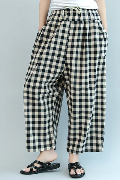 Plaid Wide Leg Loose Casual Cotton Trousers Women Clothes