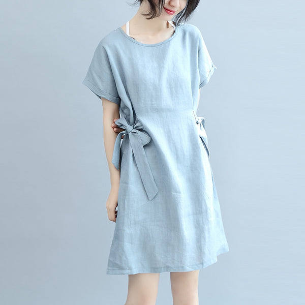 Simple Linen Blue Women Summer Casual Loose Fitting Dresses