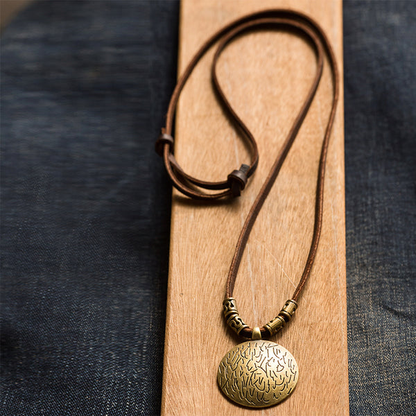 Vintage Leather Casual Cotton Linen Metal Necklaces For Women