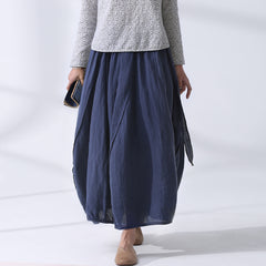 Women Vintage Loose Linen Buds Skirt Casual Clothes Q24042