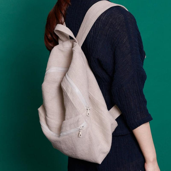 Handmade Travel Casual Linen Backpack Women Bag - FantasyLinen