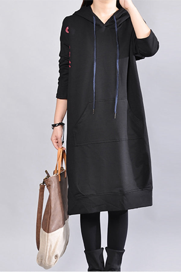 Women Loose Cotton Long Hooded Dress
