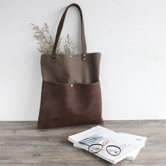 FantasyLinen Simple Handmade Canvas With Leather Large Tote Bag, Women Shoulder Bag B50006