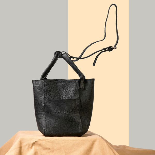 FantasyLinen Vintage Full Grain Leather Bucket Bag, Handmade Women Shoulder Bag B87182 - FantasyLinen