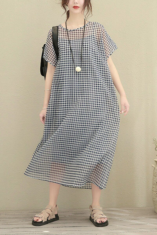 Big Size Plaid Long Loose Polyester Two Piece Dress Women Clothes - FantasyLinen