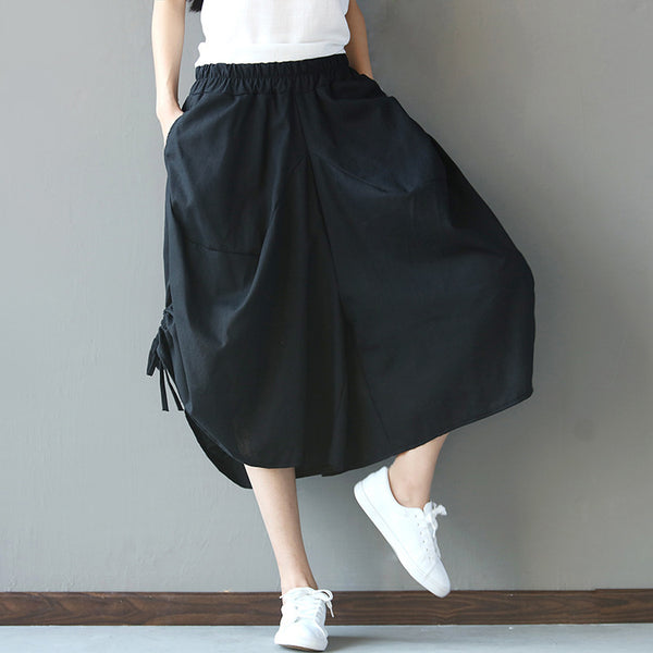 Plus Size Bow Tie Wide Leg Pants Women Trousers