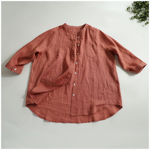 Simple Casual Linen Blouse Women Tops