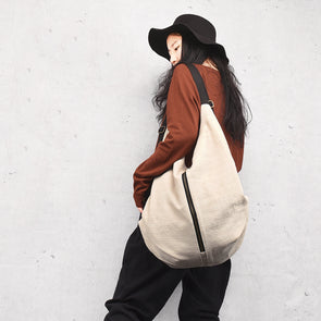 Handmade Three Use Cotton Linen Big Bag Backpack Women Bag School Bag S029
