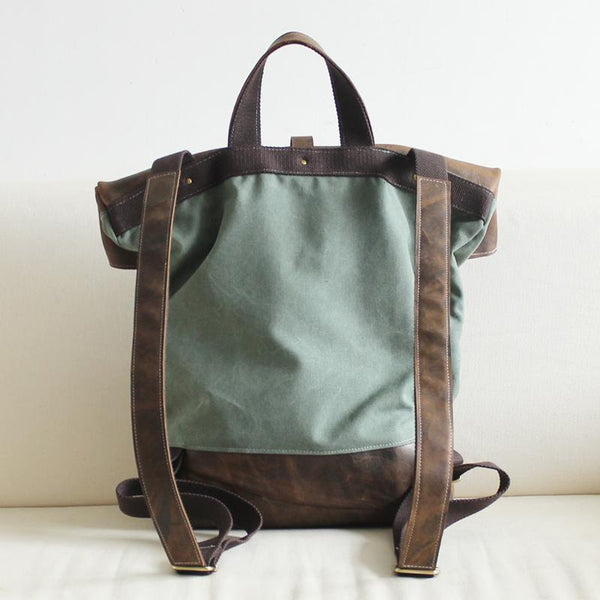 FantasyLinen Vintage Canvas Backpack with Leather Trim, Casual Backpack, School Rucksack B50008 - FantasyLinen