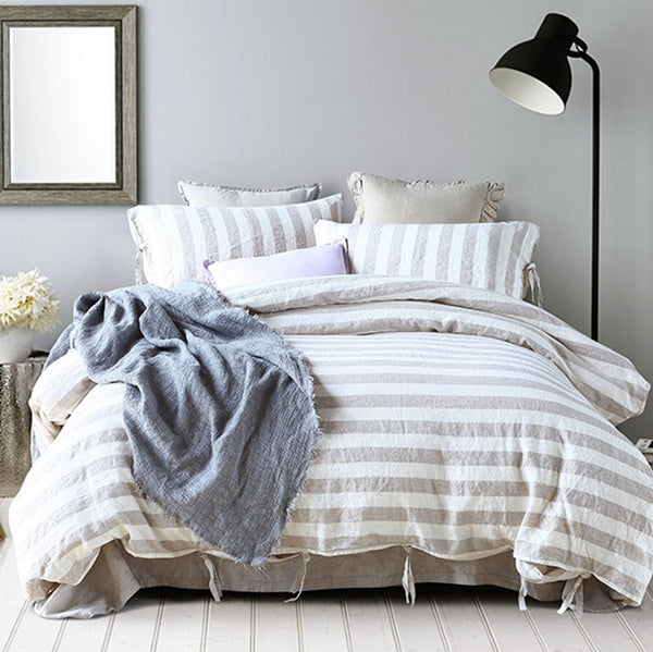 100%Pure Color Linen Striped Linen Bedding Set
