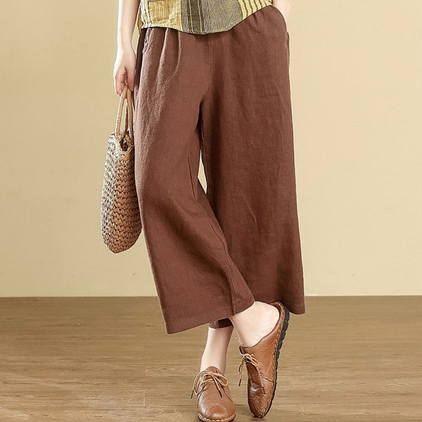 Women Simple Casual Coffee Linen pants