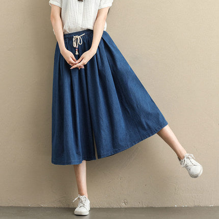 Women Loose Denim Wide-leg Pants Summer Casual Trousers K059