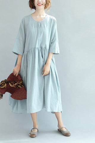 Blue Big Size Lovely Cotton Linen Dress Women Clothes