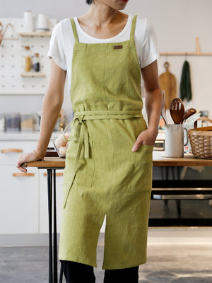 Cotton Linen Apron Bakery Catering Painter Florist Gardener Workwear A18025