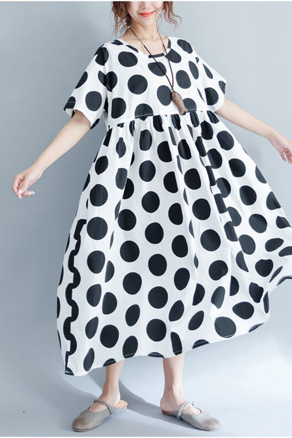 2018 Black Dot Casual Plus Size Loose Long Dress Women Clothes - FantasyLinen
