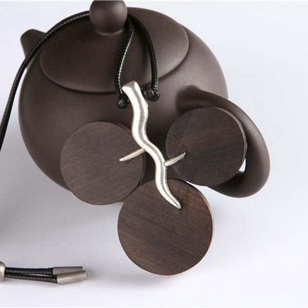 Retro Three Leaf Pendant Metal Wood Necklaces For Women