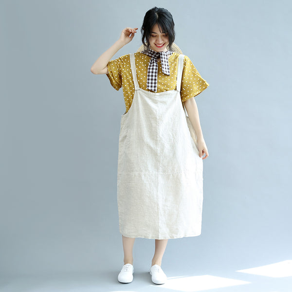 Summer Cotton Linen Casual Loose Suspender Dresses