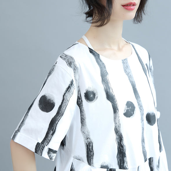 Cute Line Dot Neck Cotton White Women Summer Casual Loose Fitting Dresses