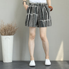 Black Striped Simple Linen Shorts Women Summer Pants Q1258