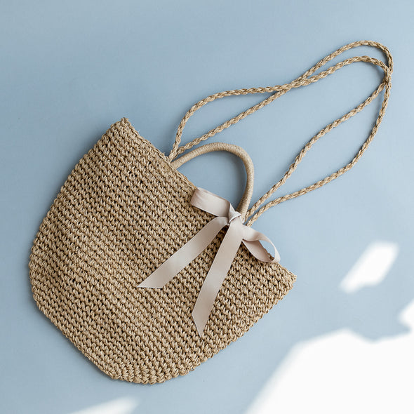Butterfly Knot Natural Straw Chic Block Color  Shoulder Bag For Women B5212 - FantasyLinen