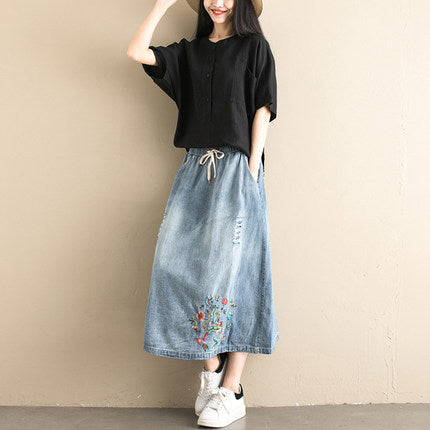 Vintage Blue Cowboy Skirt Women Loose Denim Clothes S128