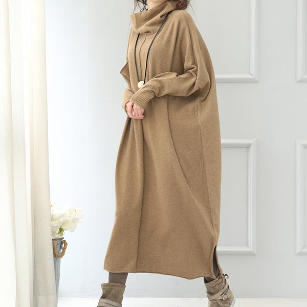 Women High Neck Sweater Dress, Maxi Raglan Sleeve Dress Q5138