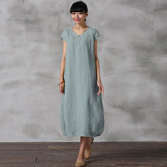 Chinese Style Pure Color Linen Dresses Women Casual Clothes Q5022