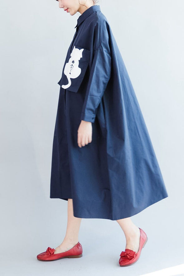 Cat Blue Long Loose Casual Cotton Shirt Dress Women Clothes - FantasyLinen
