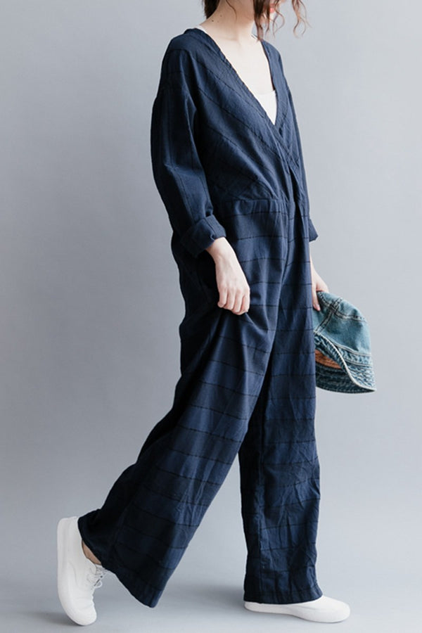 Blue Plaid Cotton Siamese Trousers Loose Women Clothes K2041 - FantasyLinen