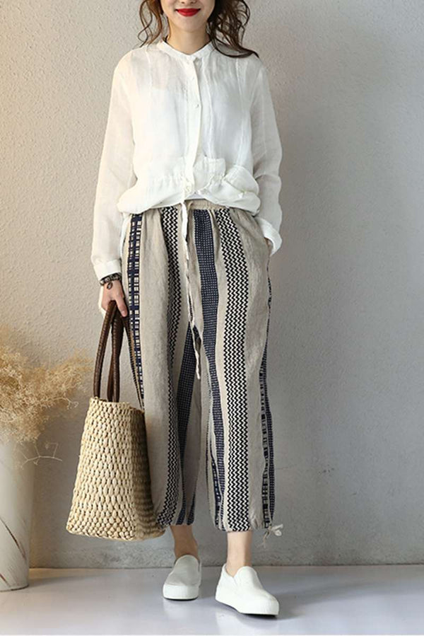 Vintage Linen Casual Pants For Women Loose Trousers Q2007