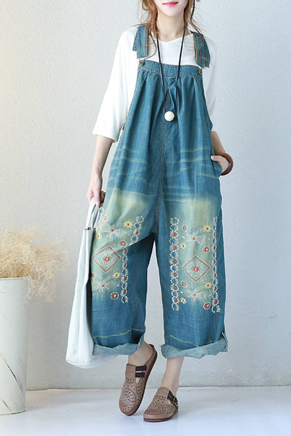 Blue Jeans Trousers Casual Loose Overalls Spring Jumpsuit For Women Q5851 - FantasyLinen