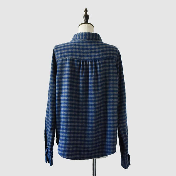 Two Colours Checked Cloth Blouse Handmade Linen Shirt Top Causel Women Clothes