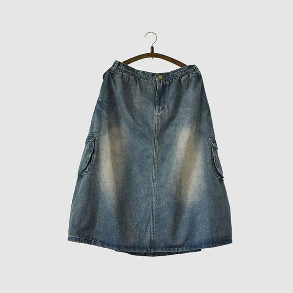 Vintage Denim Skirt Women Clothes LR701 - FantasyLinen
