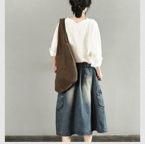 Vintage Denim Skirt Women Clothes LR701