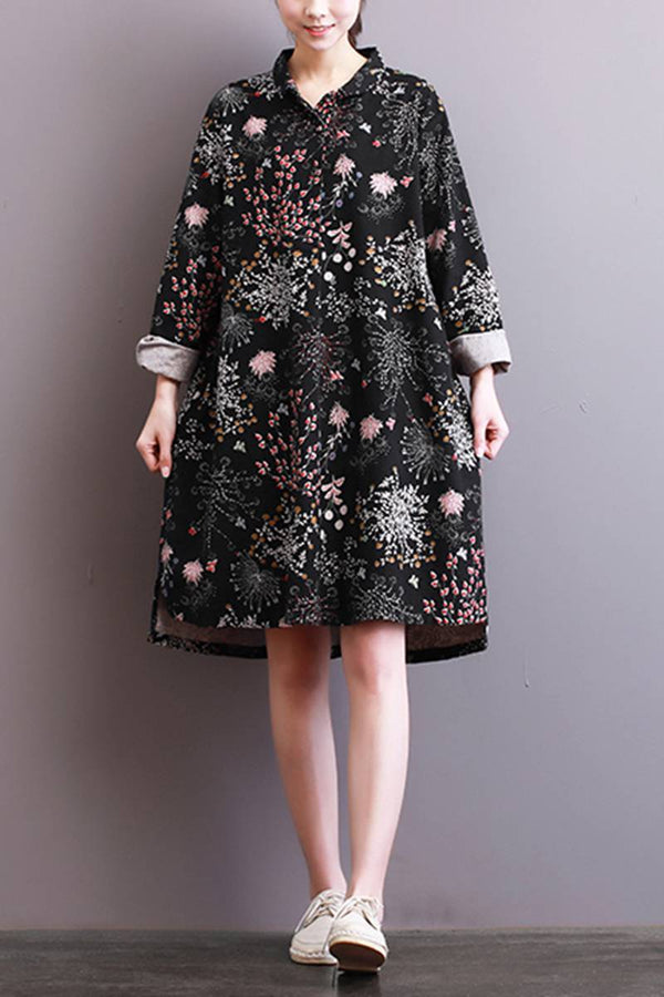 FantasyLinen Vintage Plus Size Floral Dress, Loose Long Sleeve Dress for Spring Q3002 - FantasyLinen