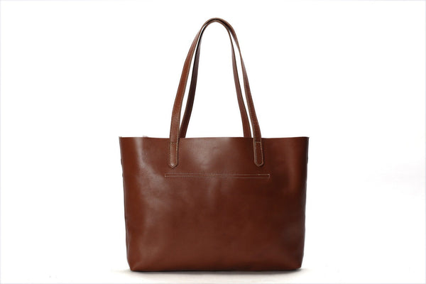 Vintage Genuine Leather Women Tote Bag Handmade Shopping Bag - FantasyLinen