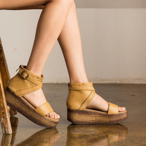 Vintage Head Layer Cowhide Roman Sandals S0203A