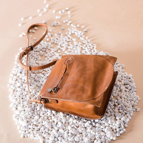 FantasyLinen Full Grain Leather Vintage Shoulder Bag, Handmade handbag B87183 - FantasyLinen