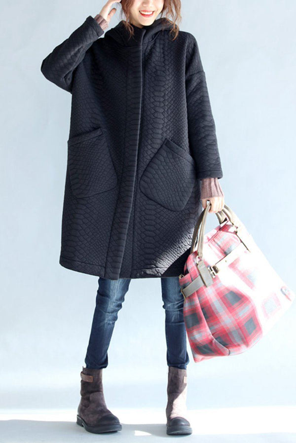 Black Thickening Cold Winter Jacket With Hood Warm Oversize Long Coat For Women W1002 - FantasyLinen