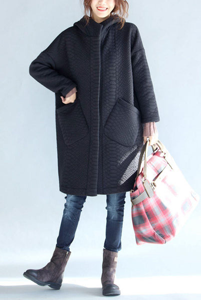 Black Thickening Cold Winter Jacket With Hood Warm Oversize Long Coat For Women W1002