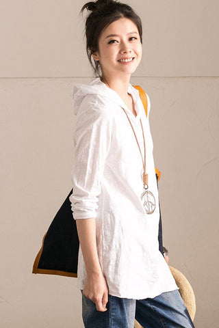 White Hooded Cotton Comfortable Bracelet Sleeve T-shirt Summer Top T355B