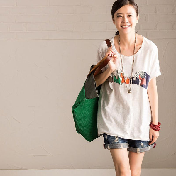 White Lovely Printed Cloth Causel Software Round Neck T-Shirt Summer Blouse Women Clothes T806B