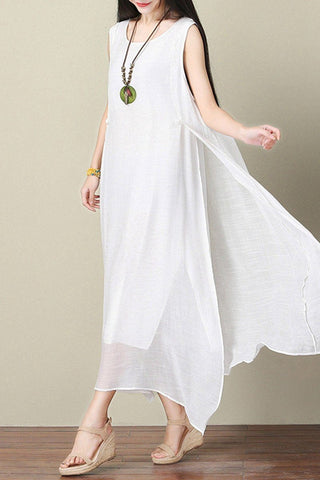 White Silk Linen Dress Summer Women Dress Q3103A