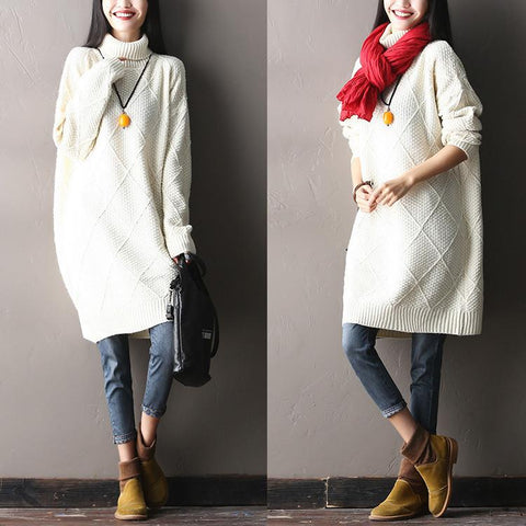 White Warm Winter Casual Loose Long Wool Sweater Coats Women Clothes S1117A