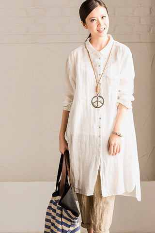 White and Green Linen Shirt Long Dress Blouse Women Clothes