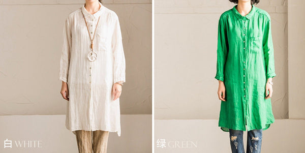 White and Green Linen Shirt Long Dress Blouse Women Clothes - FantasyLinen