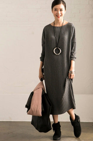 Winter Cotton Long Dresses Sweater Women Tops Q6275A