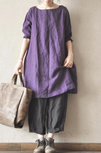 Purple Linen Dress Causel Women Clothes