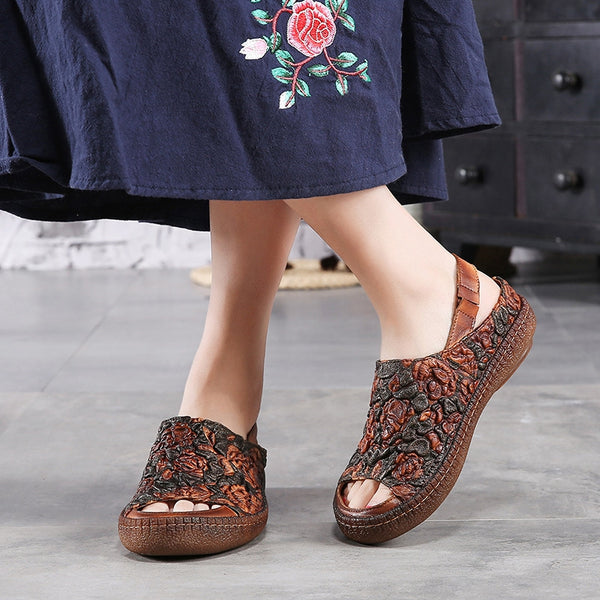 Genuine Leather Women Sandals Vintage Ethnic Flower Elastic Band Flat Heel Sandals