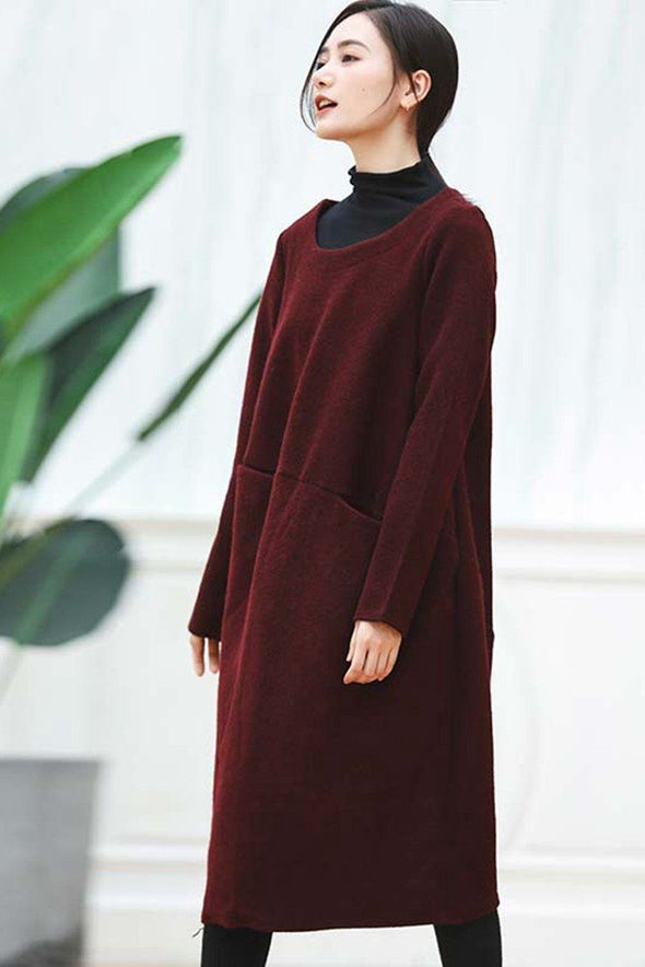FantasyLinen Women Wool Thick H-shaped Pullover Literary Dress For Winter Q290 - FantasyLinen